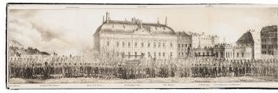Bok med utvikbar plansch. Carl XIV Johans likbegängelse 26 april 1844.