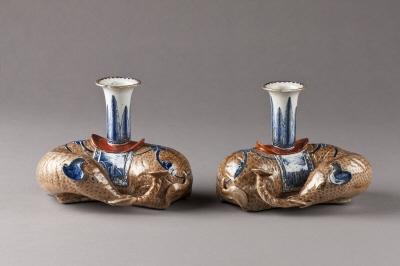 Rökelsehållare, ett par. Qingdynastin.