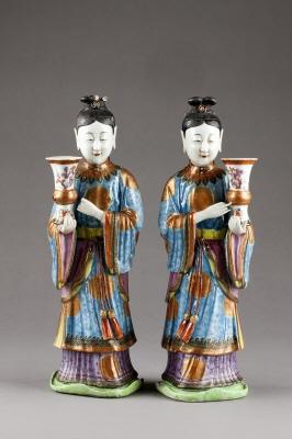 Figurer 2 st. Qingdynastin.