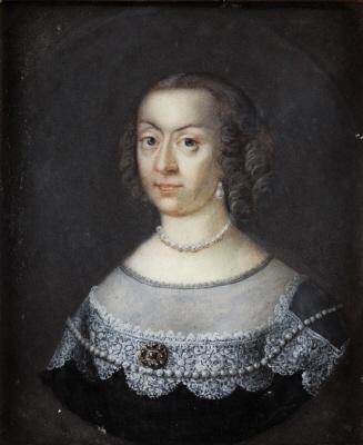 Miniatyrporträtt av Katarina (1584-1638), prinsessa av Sverige, g.m. pfalzgreven Johan Kasimir av Pfalz-Zweibrücken.
