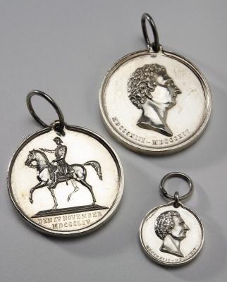Silvermedalj till Karl XIV Johans minne, Sverige, 7,5 storleken.