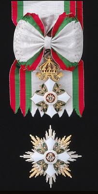 Ordensband för kommendör med stora korset av kungariket Bulgariens Civilförtjänstorden.