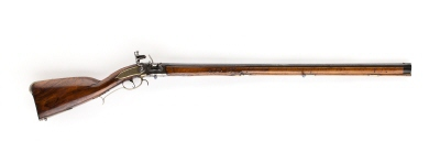 Flintlåsstudsare, bakladdare med brytpipa och laddpatron, ca 1700.