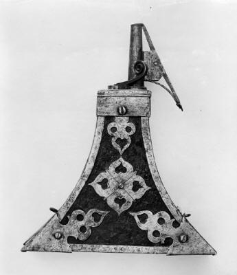 Krutflaska för hakeskyttar och musketerare, Tyskland, 1500-talets senare hälft.