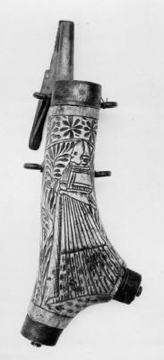 Fängkruthorn, troligen tyskt från 1500-talets första hälft.