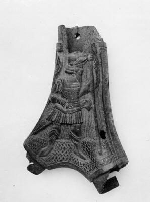 Kruthorn för fängkrut, tyskt arbete(?), 1500-tal. Jordfynd