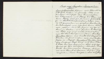 Ida Uhses resedagbok från resan till Nordafrika 1900-1901. På tyska.