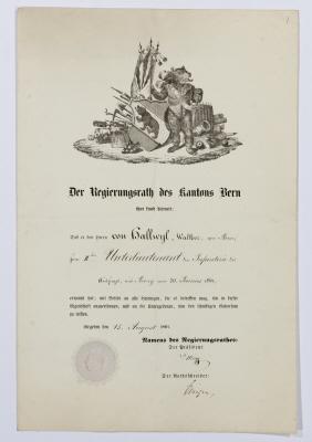 Befodran av Walther von Hallwyl till sekundärlöjtnant