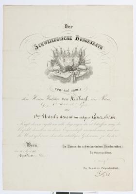 Befodran av Walther von Hallwyl till premiärlöjtnant.
