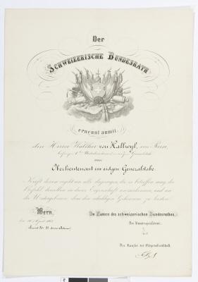 Befodran av Walther von Hallwyl till löjtnant vid generalstaben från och med 10 april 1865.