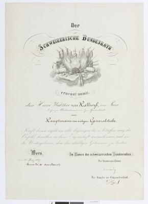 Befodran av Walther von Hallwyl till kapten.