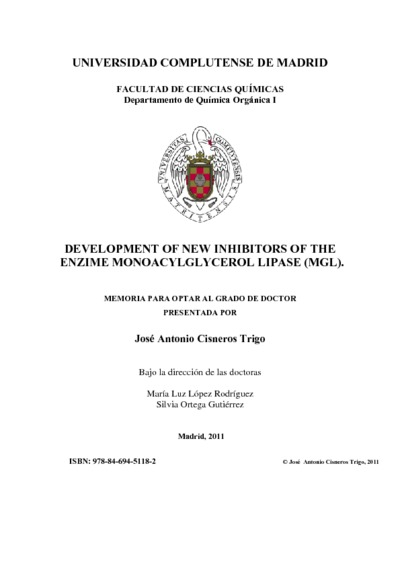 Development of new inhibitors of the enzime monoacylglycerol lipase (MGL)