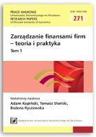 Obszary zarządzania płynnością finansową w publicznej szkole wyższej. Prace Naukowe Uniwersytetu Ekonomicznego we Wrocławiu = Research Papers of Wrocław University of Economics, 2012, Nr 271, T. 1, s. 256-264