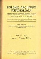 Polskie Archiwum Psychologii : Tom IV, nr 3