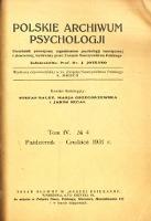 Polskie Archiwum Psychologji : Tom IV, nr 4