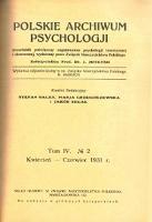 Polskie Archiwum Psychologji : Tom IV, nr 2