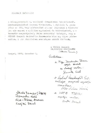 AZ MSZMP Csongrád megyei Reformkörének dokumentumai