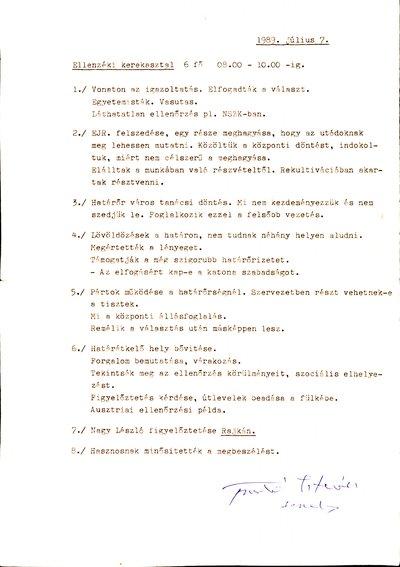 Feljegyzés az Ellenzéki Kerekasztalról (1989. július 7.)