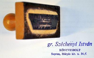Az 1989-ben megnyílt soproni Széchenyi István Könyvesbolt bélyegzője