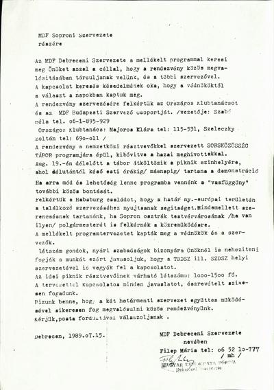 A Magyar Demokrata Fórum debreceni szervezetének felkérő levele a Páneurópai Piknik szervezéséhez
