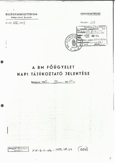 A BM Főügyelet napi tájékoztató jelentése, fotókkal