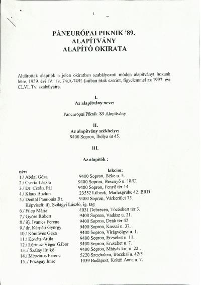 A Páneurópai Piknik '89 Alapítvány alapító okirata