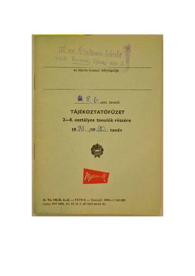 Iskolai ellenőrző könyv