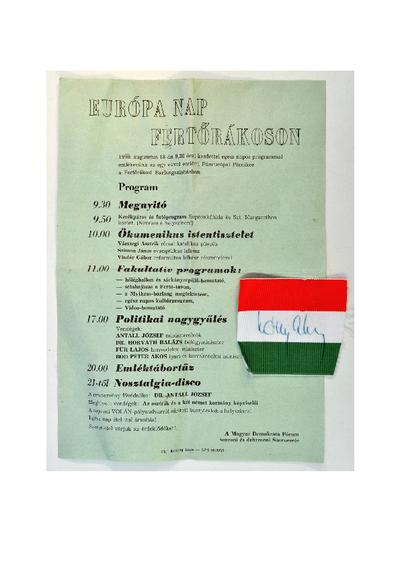 Az Európa-nap programja (Fertőrákos, 1990. augusztus 18.) / Nemzeti színű szalag