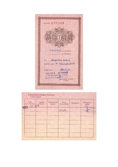 Útlevél, valutalap, valutakiviteli engedély