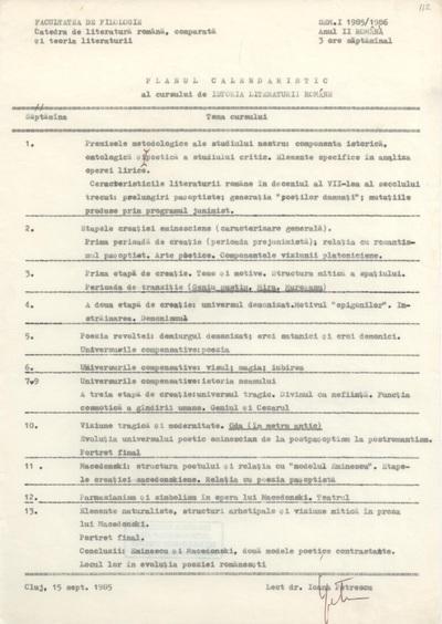 Documente privind activitatea didactică a Ioanei Em. Petrescu (1985-1986)