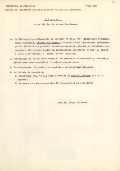 Documente privind activitatea didactică a Ioanei Em. Petrescu (1987-1988)
