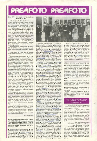 """Salonul de artă fotografică """"Premfoto '88"""""""