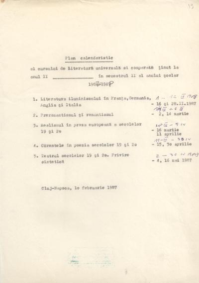 Documente privind activitatea didactică a lui Liviu Petrescu, lector la Facultatea de Filologie, în anul universitar 1987-1988