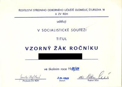 Čestné uznání - titul Vzorný žák v socialistické soutěži