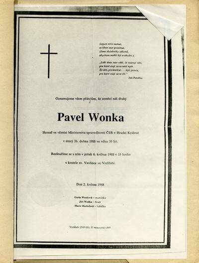 Spis o osobě Pavla Wonky