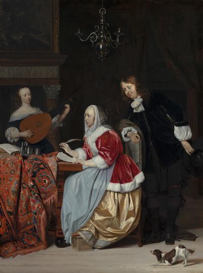 Een jonge vrouw die muziek schrijft