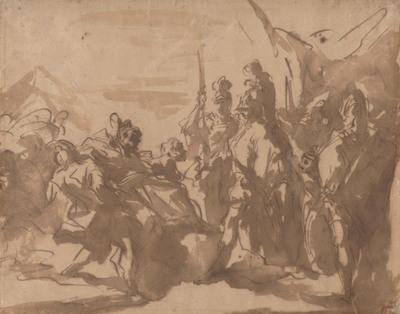 De gewonde Porus voor Alexander de Grote