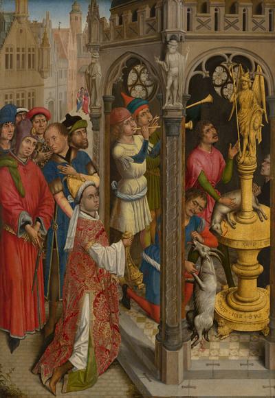 Augustinus offert aan een afgod van de Manicheeërs (?)