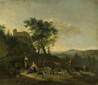 Italianiserend landschap met herders