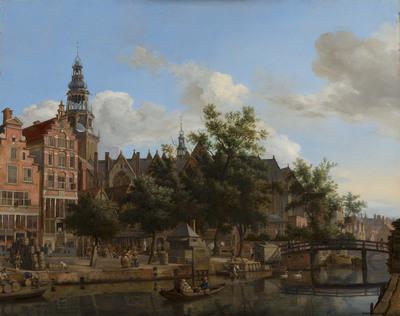 Gezicht op de Oudezijds Voorburgwal met de Oude Kerk in Amsterdam