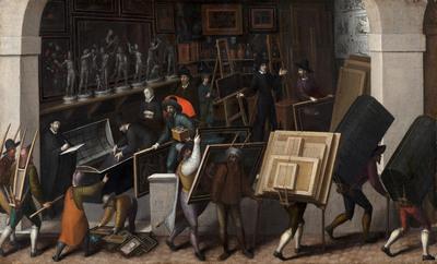 De inbeslagname van de inhoud van het atelier van een schilder