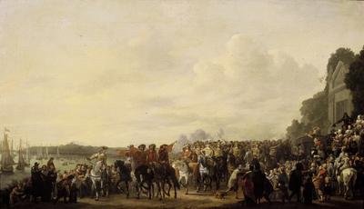 Het halthouden van Karel II (1630-1685) bij de buitenplaats Wema aan de Rotte tijdens zijn tocht van Rotterdam naar Den Haag, 25 mei 1660