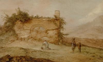 Italiaans landschap met ruïnes
