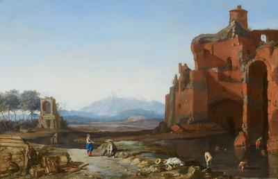 Italiaans landschap met de Aureliaanse muur