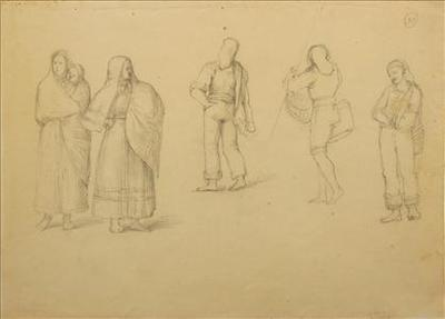 Figures studies (3 males and 2 females)