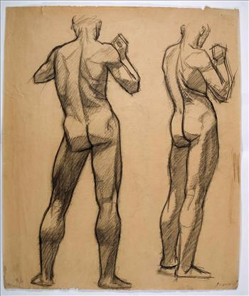 Two standing male nude (from back)