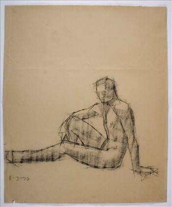 Seated male nude with outstretched leg