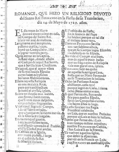Romance, que hizo un religioso devoto del Santo Rei Fernando en la Fiesta de su Translacion ... 1729 años
