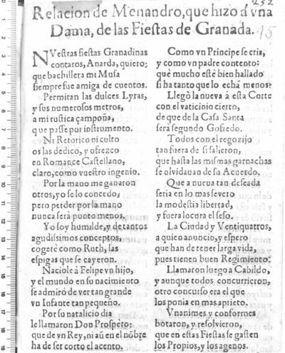 Relacion de Menandro, que hizo á una Dama, de las Fiestas de Granada