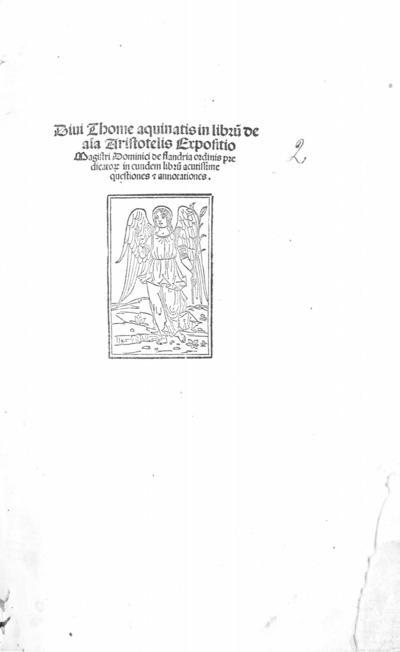 Diui Thome Aquinatis in Libru[m] de aia Aristotelis expositio ...
